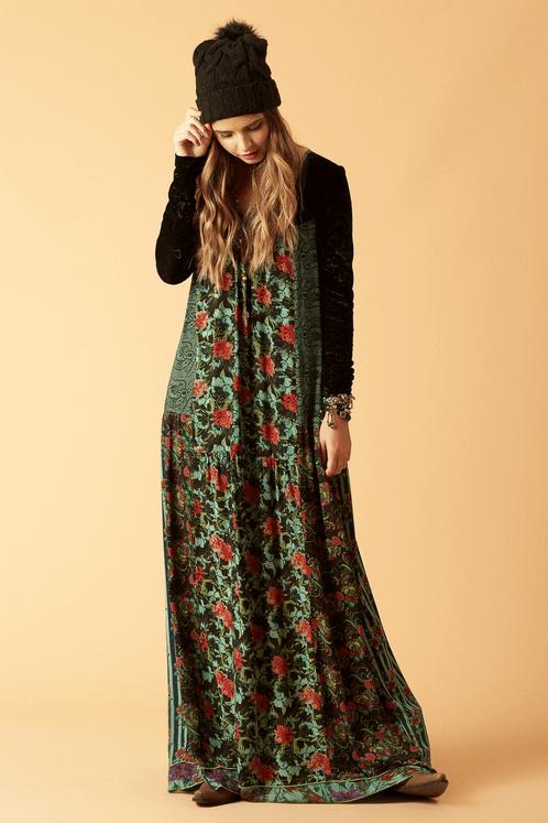 Vestido-longo-com-veludo-patchwork-frente