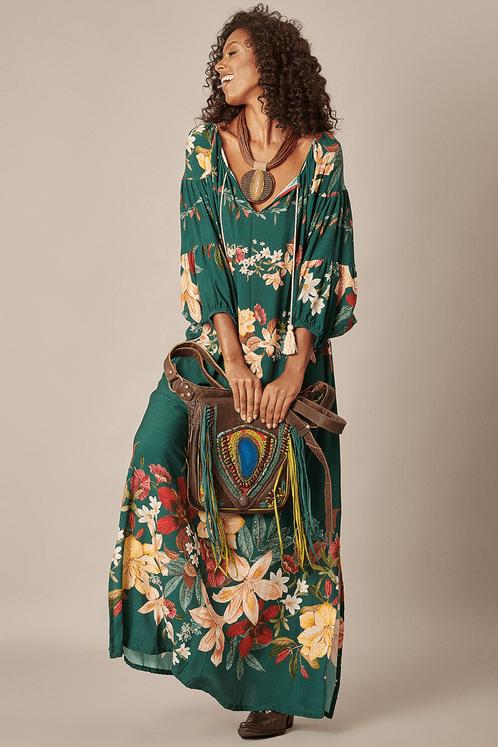 Vestido-Longo-Verde-Fendas-Yacamim-Frente