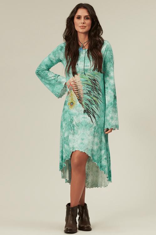 Vestido-Mullet-verde-cocar-yacamim-frente