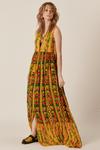 Vestido-Longo-Abertura-botoes-amarelo-patchwork-yacamim-frente