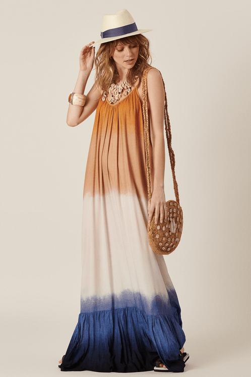 Vestido-Longo-Marrom-Azul-Yacamim-Frente