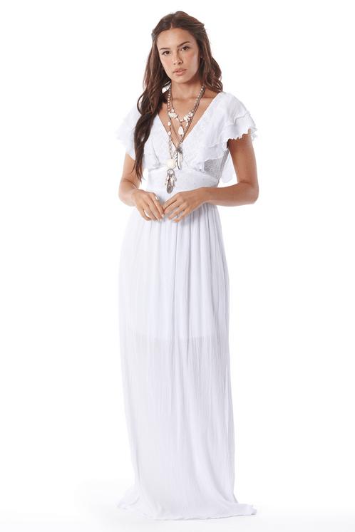 Vestido-Longo-decote-transpassado-Branco-Yacamim-frente