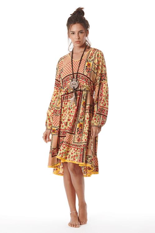 Vestido-Amarelo-Patchwork-Yacamim-Frente