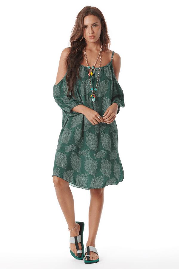 Vestido-Curto-Ombros-Vazados-Verde-Estampado
