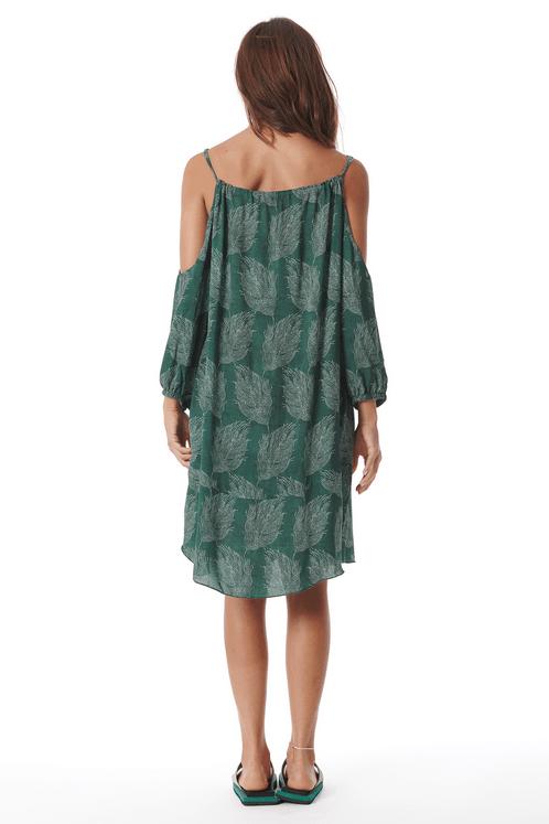 Vestido-Curto-Ombros-Vazados-Verde-Estampado-Costas