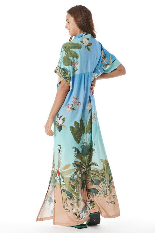 Chemise-Longo-Azul-Floral-Estampado-costas