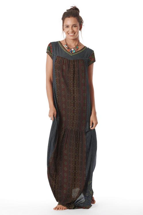 Vestido-Longo-Yacamim-Mangas-Curtas-Azul-Patchwork-Frente