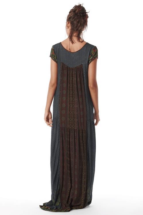 Vestido-Longo-Yacamim-Mangas-Curtas-Azul-Patchwork-costas