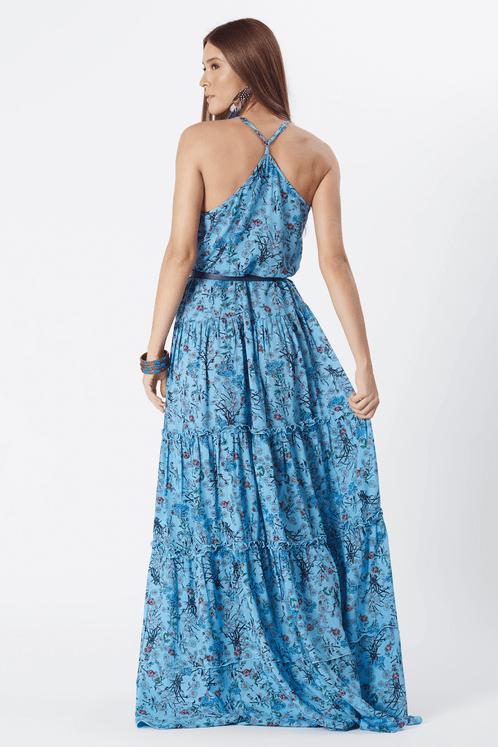 Vestido-Longo-dois-babados-azul-patchwork-yacamim-costas