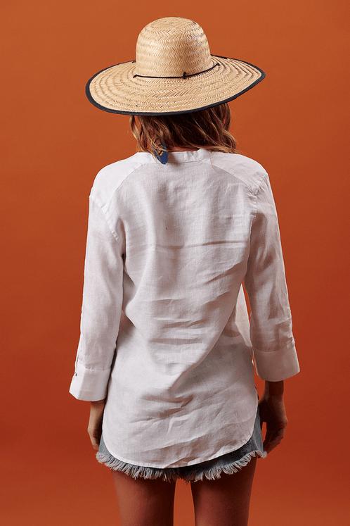 Camisa-Mangas-3-8-branca-linho-Yacamim-costas