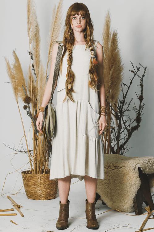 Vestido-Midi-Linho-sem-alcas-bege-yacamim-frente