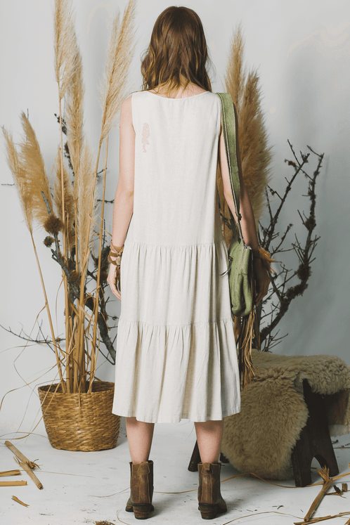 Vestido-Midi-Linho-sem-alcas-bege-yacamim-costas