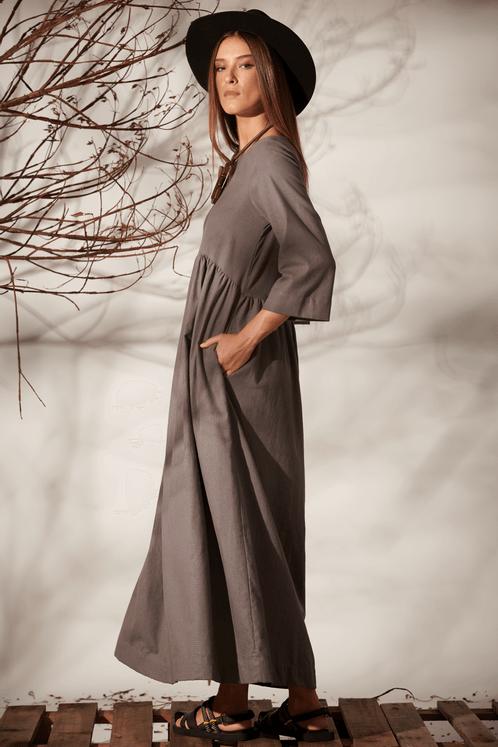 Vestido-Midi-Mangas-3-8-Linho-Cinza-Yacamim-costas