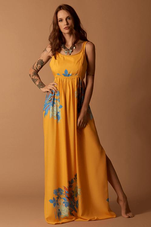 Vestido-Longo-Amarelo-Estampado-Hippie-Chic-frente