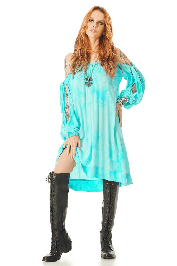 Vestido-Curto-com-Mangas-Abertas-Azul-Tie-Dye-Digital-Yacamim-frente
