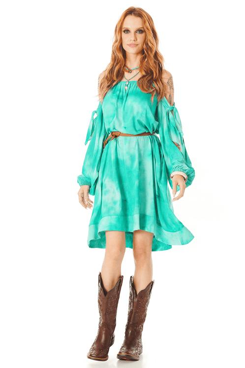 Vestido-Curto-com-Mangas-Abertas-Verde-Tie-Dye-Digital-Yacamim-frente