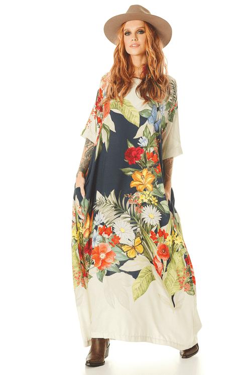Vestido-Longo-com-Mangas-3-4-Estampa-Floral-Yacamim-frente