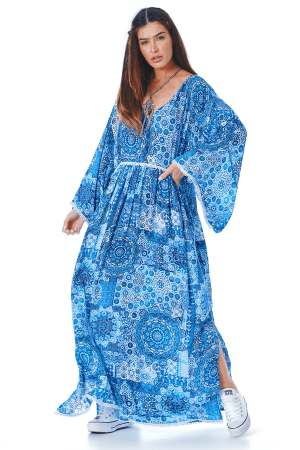 Vestido-Longo-decote-V-azul-yacamim-frente