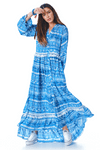 Vestido-Longo-Azul-Estampado-yacamim-frente