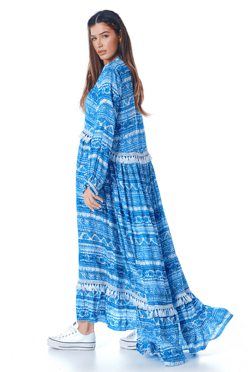 Vestido-Longo-Azul-Estampado-yacamim-costas