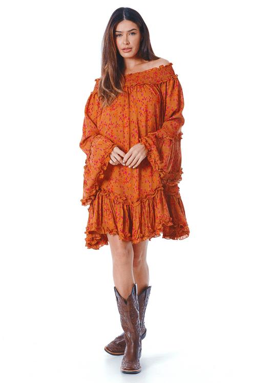 Vestido-Ciganinha-Laranja-Estampado-yacamim-frente