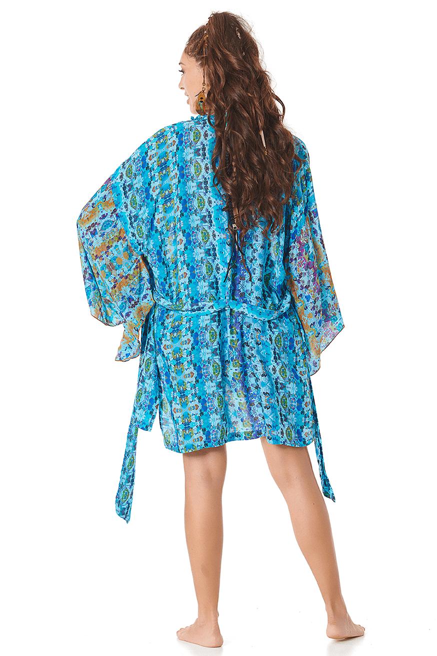 Kimono com Faixa Azul Estampado Yacamim