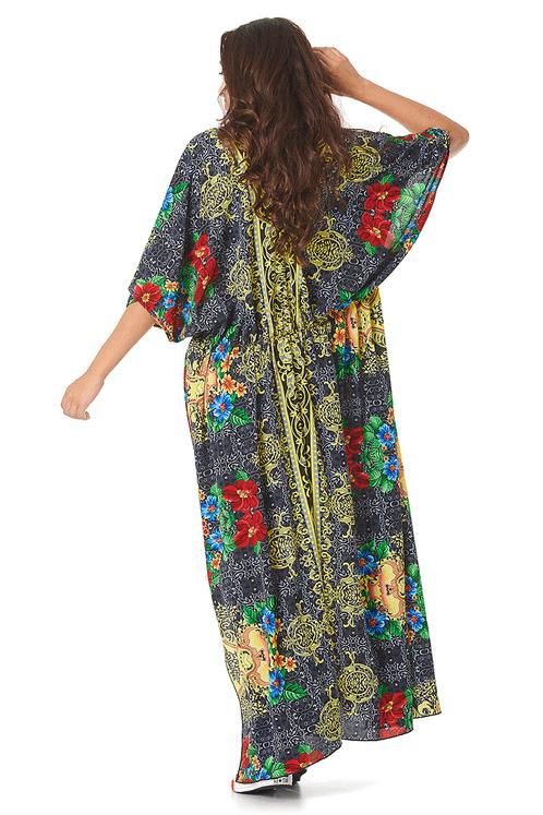 Kimono-Longo-preto-estampado-yacamim-costas