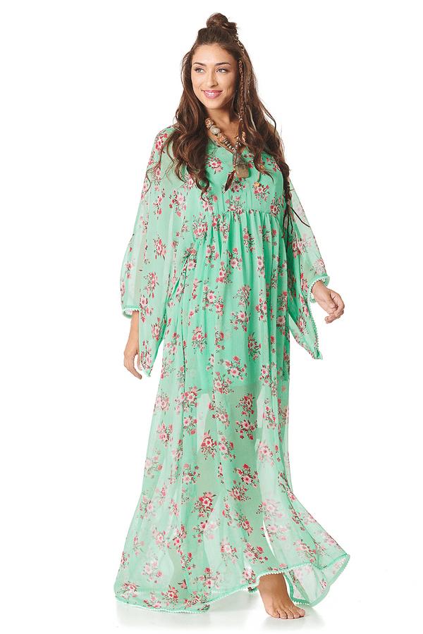 Vestido-Longo-Verde-Estampado-Yacamim-frente