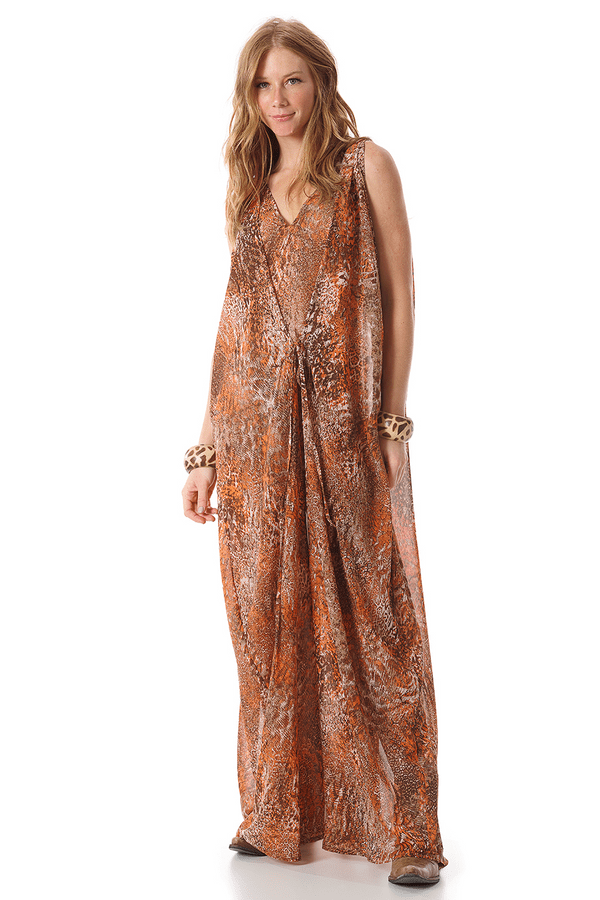 Vestido-longo-laranja-estampado-yacamim