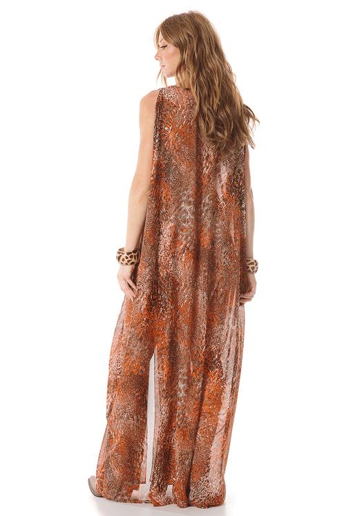 Vestido-longo-laranja-estampado-yacamim-costas