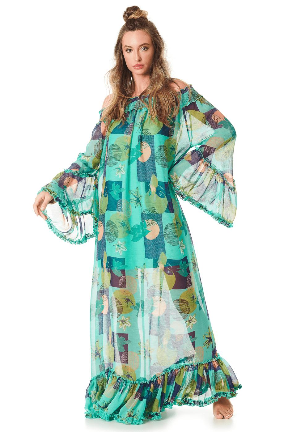 Vestido Longo Ciganinha Verde Transparente Yacamim