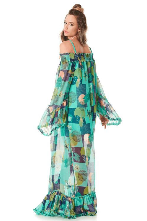 Vestido-longo-verde-transparente-yacamim-costas