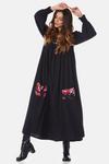 Vestido-Midi-preto-estampado-frente