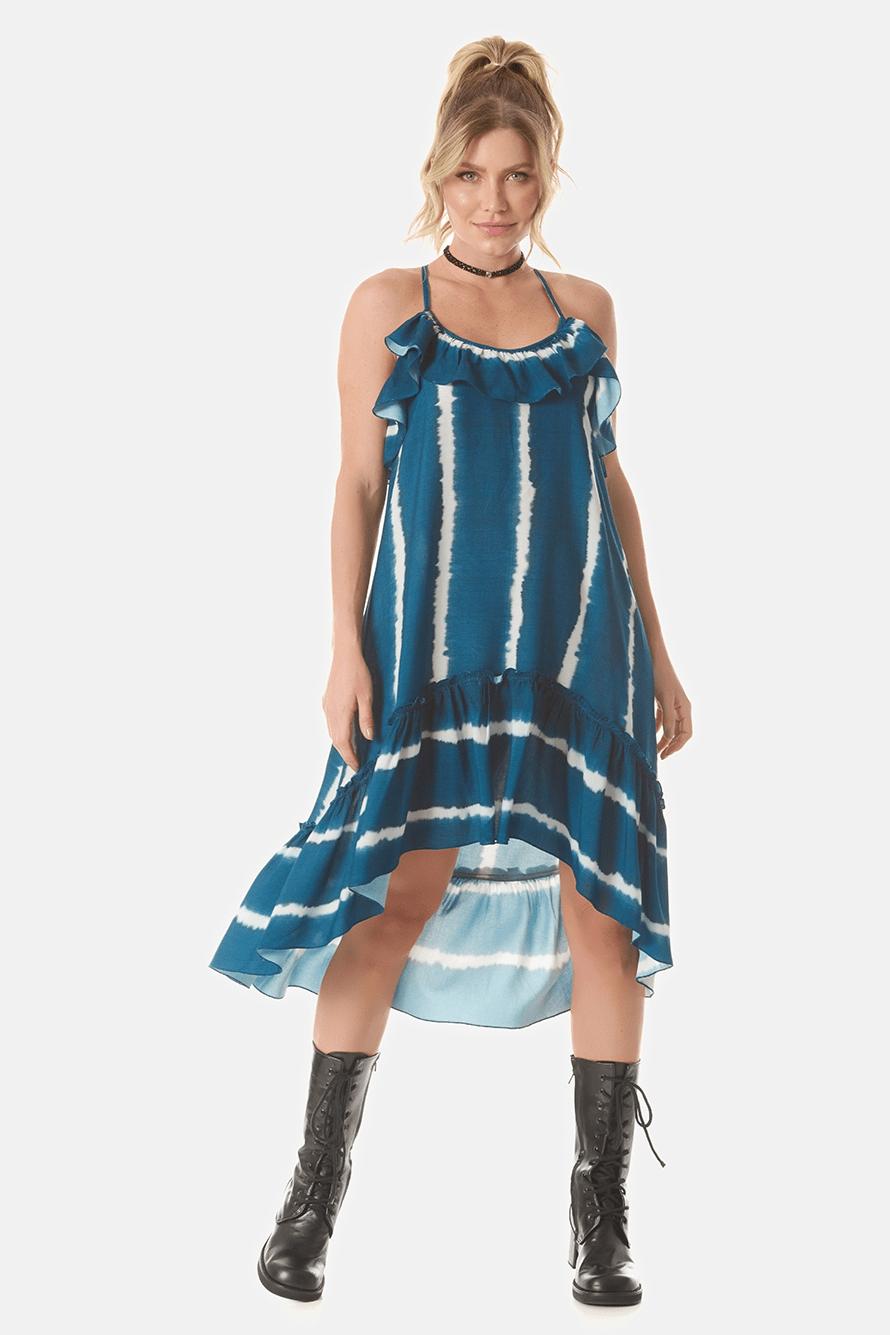 Vestido Mullet com Babados Tie Dye Digital Yacamim