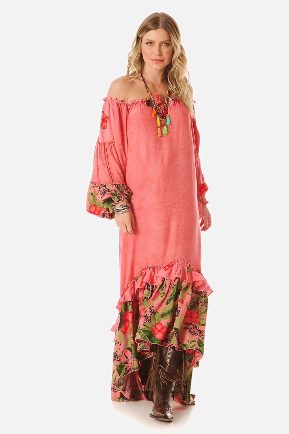 Vestido Longo Ciganinha Rosa Patchwork Yacamim