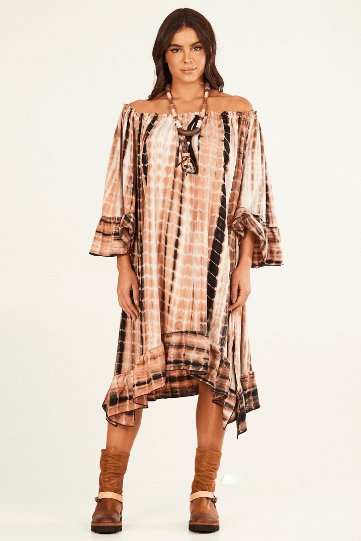 Vestido Midi Ciganinha Marrom Tie Dye Yacamim