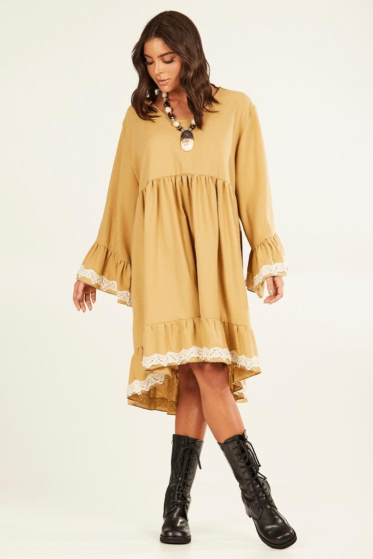 Vestido Mullet de Linho com Rendinhas Amarelo Ocre Yacamim